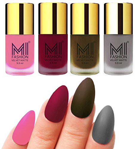 Matte Nail Polish Shades by MI Fashion®|Baby Pink Matte Nail Polish|Mauve Matte Nail Polish|Olive Brown Matte Nail Polish|Grey Matte Nail Polish Combo of 4 Pcs|9.9ml
