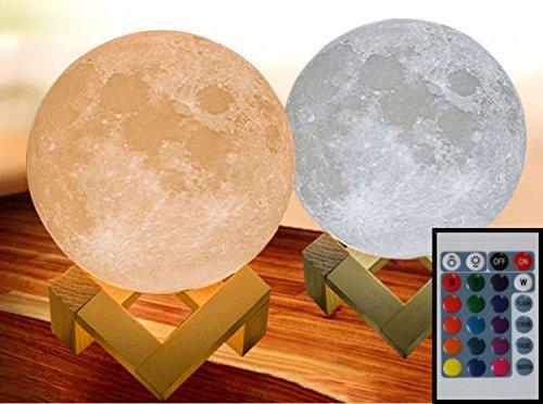 3D Mond Lampe Mondlampe Mondleuchte verschiedene Durchmesser, 16 Farben, hier 20cm mit Fernbedienung dimmbar, Viele Funktionen möglich, zB. automatischer Farbwechsel mit gleichzeitigem auf- und abdimmen. Deutsche B (Hölzerne Lampe)