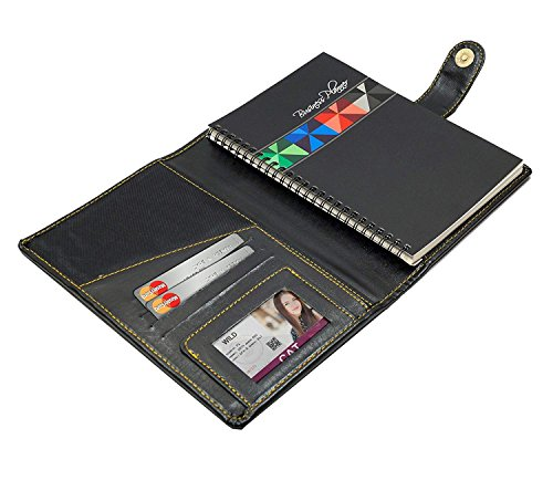 Leather Diary Book, Memo Note Pad, Padfolio, Diary Holder, Writing Pad, Conference Pad (80 Pages) snap Button Closure A5 Size – Black