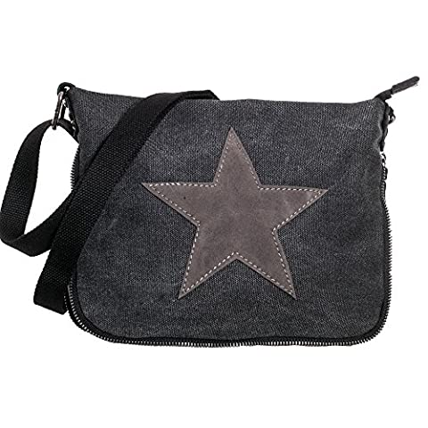Damen Schultertasche klein Tasche Stern Canvas Umhängetasche TUCK0187 anthrazit
