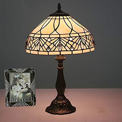 YCL Tischlampe Europäische Retro 12 Zoll Dekoration Tischlampe Weizen Ohren Glasmalerei Tischlampe Mit Druckschalter Wohnzimmer Schlafzimmer Harz Tischlampe Zincalloy (Color : Zincalloy)