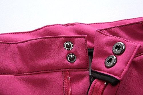 Minetom Femme Hiver Doublé Pantalon Softshell Breathable Soft Shell Climbing Trousers Imperméable Coupe-vent Randonnée Trekking Sports Pants Noir 2