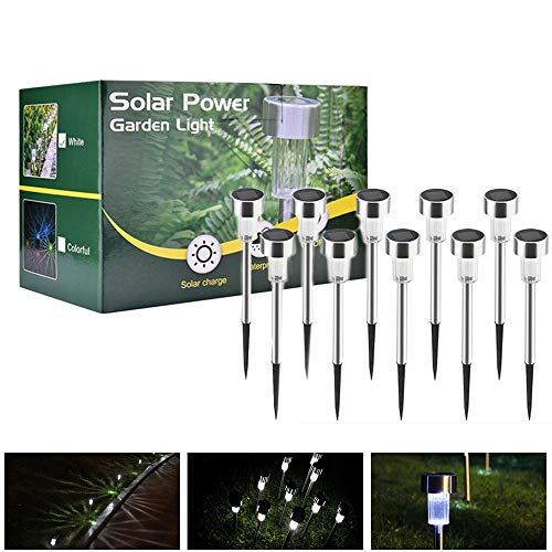 Solarleuchte, AUSHEN 10 Stück IP65 wasserdichte energiesparende LED Solarlampe, weiß, Edelstahl, ideal für Terrasse, Rasen, Garten und Wege [2 Jahre Garantiezeit] -