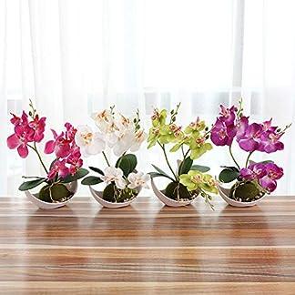 qEbGj70thjT Artificial Mariposa Orquídea Bonsai Flor Falsa con Bandeja Inicio Decoración De La Mesa Fondo Pared Boda Paisajismo Fotografía Accesorios Blanco