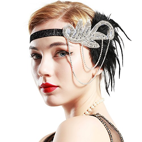 Stirnband 1920s Stil Inspiriert von Der Große Gatsby Flapper Stirnband Kostüm Party Accessoires für Damen One Size (Schwarz UK) (Haarspray Kostüme Uk)