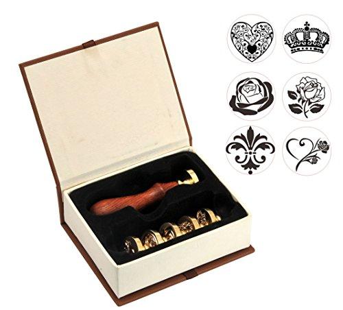 Mogoko 6 pcs Rosenholz Wachs Siegelstempel Set Dekorativer Siegel Petschaft Holzgriff Brief Personalisierte Segen Geschenkset