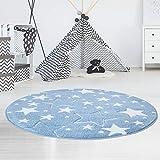 carpet city Kinderteppich Flachflor Hochwertig Bueno mit Konturenschnitt, Glanzgarn mit Sternen-Muster, Sterne in Blau, Größe 160x160 cm Rund