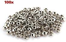 TOOGOO (R) 100X Apliques Remaches Metal Hemisferica 7mm Tachuelas Bolsa/Calzado/Guante