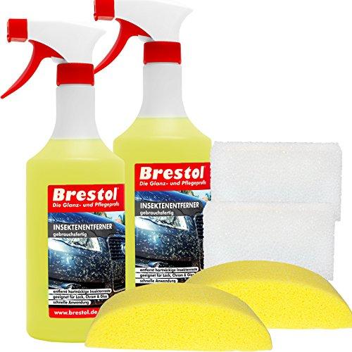 Brestol INSEKTENENTFERNER SET2-2 x 750 ml gebrauchsfertig, 2x Fahrzeugschwamm, 2x Insektenschwamm - Insektenlöser Polycarbonat geeigneter Vogelkotentferner Spezialreiniger alkalisch