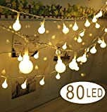Cookey Ball String Lights - 80 Balls 10m Battery Operated Globe Fairy Light - Perfect for Indoor, Outdoor, Garden, Chrismas Tree, Party, Festival, Wedding Decoration(Warm White)
