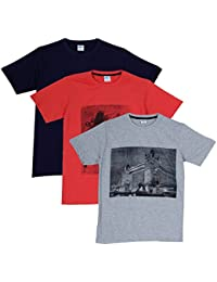 Fleximaa Men's Cotton Round Neck T-Shirt Printed (Pack Of 3) - Navy Blue, Grey Milange & Coral Red Colors.