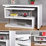 Melko® Eckschreibtisch Beistelltisch Schreibtisch Sekretär, Weiß, Drehbar, 120-202x50x70 cm
