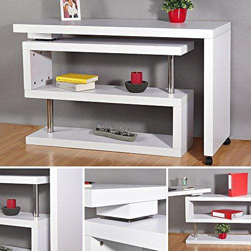 Melko Eckschreibtisch Beistelltisch Schreibtisch Sekretär, Weiß, Drehbar, 120-202x50x70 cm (Eck-schreibtisch Elegante)