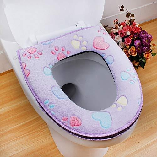 Feitb WC-Sitz Toilettensitz weich Kissen Pads antibakteriell Warm Sitz Abdeckung Toilet Seat Cover, waschbar 41,5x34,5 cm (Lila) -