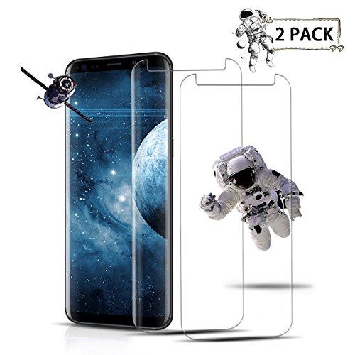 Auideas 2 Pièce Samsung Galaxy S8 Verre Trempé Film Protection en Verre trempé Écran Protecteur Vitre- Anti Rayures - sans Bulles d'air -Ultra Résistant Dureté 9H Glass Screen Protector pour