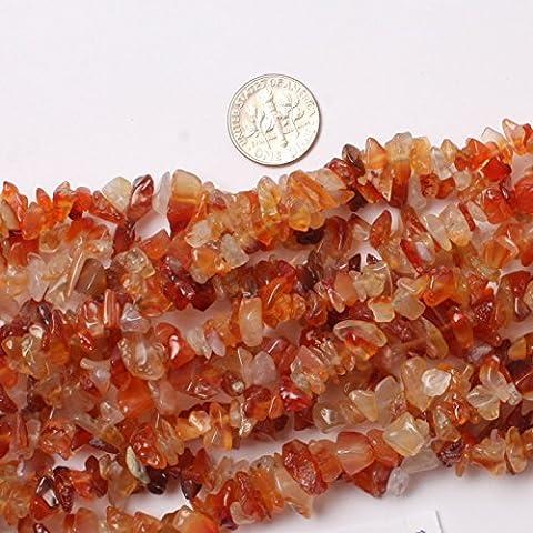 Sweet & Happy Girl'S Store 7-8mm Gemstone Red Carnelian Chips Beads Strand 34 Inch Jewellery Making Beads