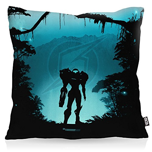 VOID Heroic Samus Kissenbezug Kissenhülle Outdoor Indoor Metroid Nerd Gamer NES SNES Switch, Kissen Größe:50 x 50 cm