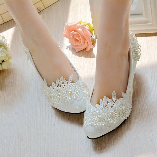 JINGXINSTORE Cuore Bianco perla floreale in pizzo Nuziale scarpe tacco alto Platform White