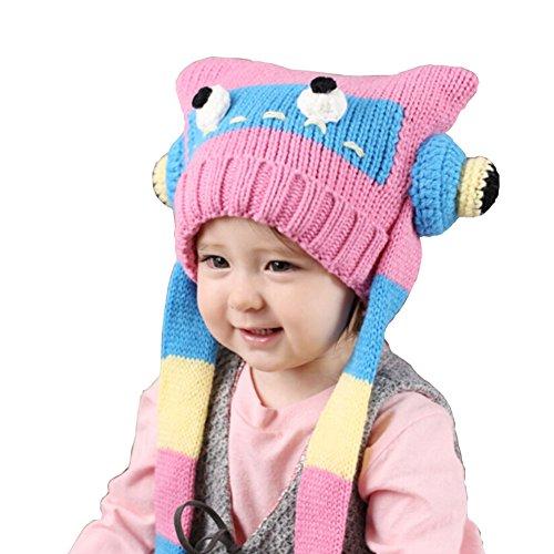 Cute robot pour bébé en crochet Hiver chaud Chapeau 3-36 Mois Rose