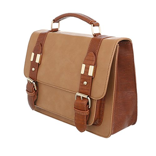 iTal-dEsiGn Damentasche Mittelgroße Schultertasche Used Optik Handtasche Kunstleder TA-A151 Hellbraun