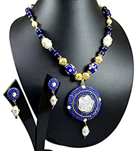 Gauri's Traditional Jewellery Kundan Pearl Multi Beads Necklace Set with Earrings For Girls KKJS600