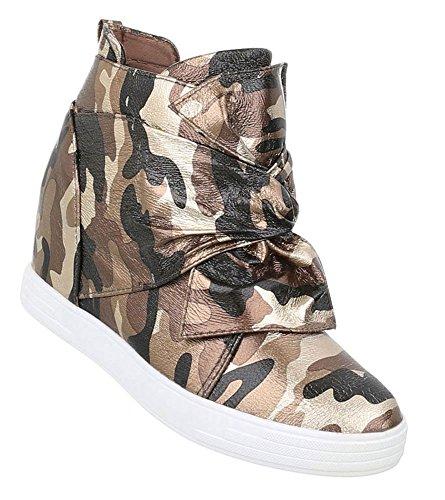 Schuhcity24 Damen Sneakers | Sneaker Wedges | Keilabsatz Schuhe | Wedge Sportschuhe | Basketball Style | Freizeitschuhe Klettverschluss Grün 41