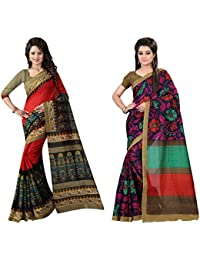 Glory Sarees Women's Bhagalpuri Art Silk Bandhani Saree Combo Pack Of 2(gloryart2&3_red_blue_multi)