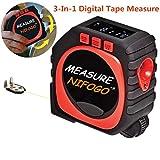 Mètre à Ruban Numérique - 3 in 1 Digital Tape Measure, Mode Numérique, Mode son et Mode Défilement, Accurate au 1/100TH (Rouge & Noir)