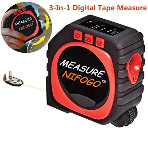 Digital Tape Measure, 3-in-1 Digital Maßband, Einziehbar Maßband, Multifunktions String-Modus Sonic-Modus & Roller-Modus (Schwarz + Rot) -