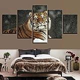zhangfuhe Leinwand Malerei HD Drucke Dekoration Für Nacht Hintergrund 5 Stücke Wandkunst Tier Tiger Modulare Bilder Kunstwerk Poster