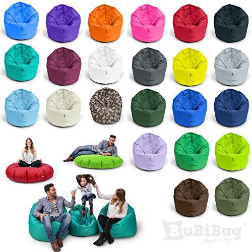 Sitzsack BuBiBag 2-in-1 Funktionen mit Füllung Sitzkissen Bodenkissen Kissen Sessel BeanBag (100cm Durchmesser anthrazit)