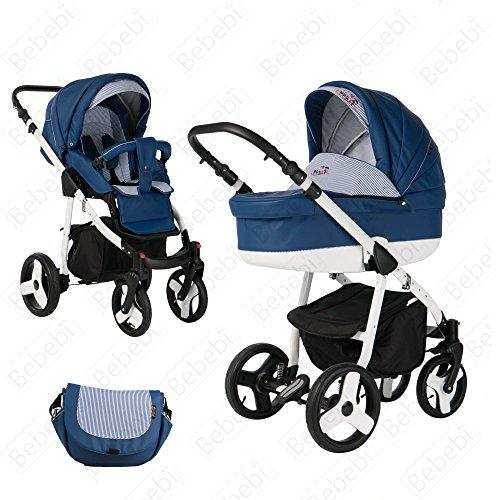 Bebebi Fizzy | Luftreifen in Weiß | 2 in 1 Kombi Kinderwagen | Farbe: Marine Luft (Marine-blau-usa Luft)