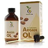 Natura Pur Bio Arganöl 120ml, ohne Silikon - 100% nativ, kaltgepresst, vegan - Anti-Aging Serum für kraftvolle Haare, zarte Haut, junges Gesicht, Anti-Falten und starke Nägel - Argan-Öl aus Marokko in Lichtschutzflasche mit Pipette