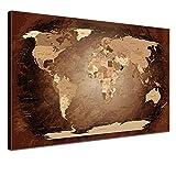 "LANA KK - Weltkarte Leinwandbild  ""Worldmap Antik"" - englisch - Kunstdruck-Pinnwand auf Echtholz-Keilrahmen – Globus in braun, einteilig & fertig gerahmt in 60x40cm"