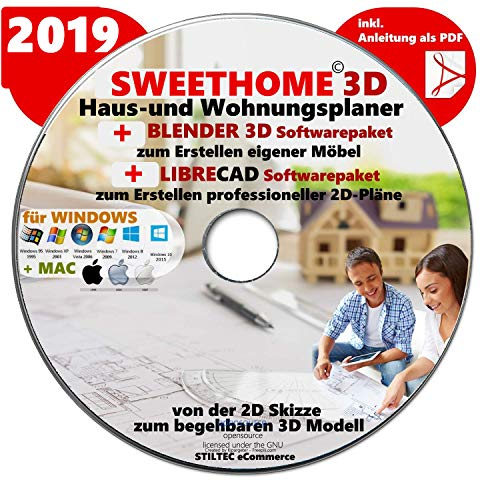 "Sweet Home 3D® Version 6.0 ""SWEET HOME 3D"" 2019 Haus-und Wohnungsplaner 3D Software Premium PLUS= BLENDER und LIBRE-CAD"