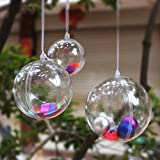 StillCool Clear Plastic Sphere Baubles For Christmas Decorations Wedding Favours Pack of 12,60mm Diameter