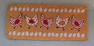 Récréa - Paillasson Coco 30 x 70 cm - Petites Poules Fond Beige