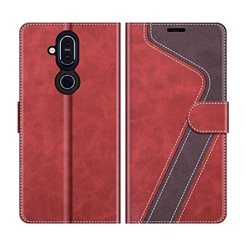 MOBESV Handyhülle für Nokia 8.1 Hülle Leder, Nokia 8.1 Klapphülle Handytasche Case für Nokia 8.1 Handy Hüllen, Modisch Rot