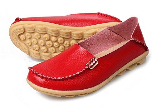 Gaatpot Mocassins Femme Casual Cuir Plates Loafers Chaussures de Conduite, 15 Couleurs Rouge