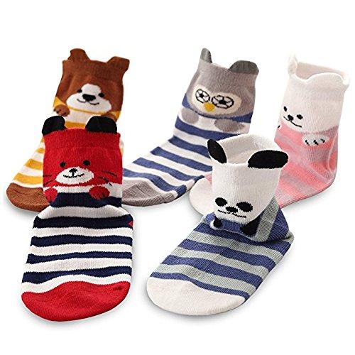 Huertuer 5Paar Girl Boy Kinder Baumwolle Warm Cute Animal Toddler Kids Crew Socken