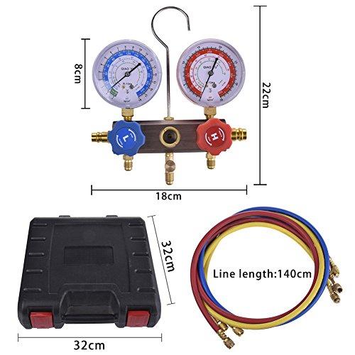 kaersishop Manifold, A/C-Tester Kühlmittel-Diagnose-Set KFZ R134A Klimaanlage Dual, mit Freon-mit Kupplungen und Tragetasche für R12R22R134a r404a 410
