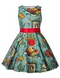HBBMagic Maedchen Audrey 1950er Vintage Baumwolle Kleid Hepburn Stil Kleid Blumen Kleid Tupfen Kleid mit Futter