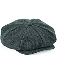 6a2f72ba9fa Flat Cap with Peak  Shelby  Baker Boy Newsboy Herringbone Cloth Cap Hat