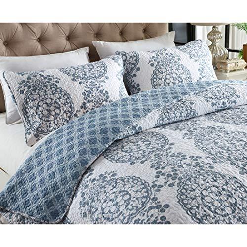 Mkulxina Neue Baumwolle Sommer Cool Washed Cotton Klimaanlage Sommer Cool kann in Bett DREI Stücke Set von Vier Jahreszeiten (Color : Blue, Size : Queen) -