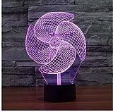 Ilusión Del Molinete 3D Luces De La Noche Led Interruptor Táctil Lámpara 3D Pequeña Noche Ligh Touch Lámpara De Escritorio Decoración De La Barra