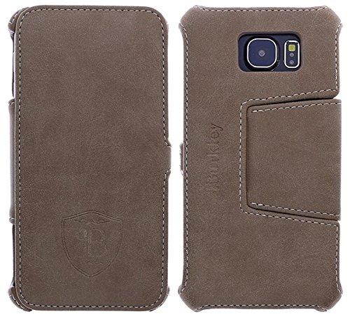 Burkley Handyhülle geeignet für Samsung Galaxy S6 Edge Handytasche Schutzhülle Book Case Cover mit Standfunktion (Beige)