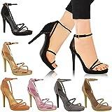 Sandales à talons aiguille - très fines/à brides - pour soirée - femme