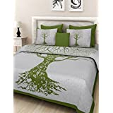 Cally 100% Pure Cotton King Size Double Bedsheet With 2 Zippered Pillow Cover - Abstract, Green