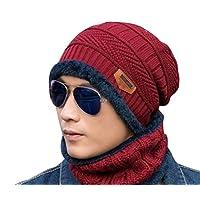 BSP Men Women Beanie Hat Scarf Set Fleece Lining Knit Hat Warm Thick Winter Ski Unisex (Red)