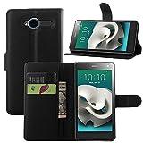 ZTE Blade L3 Handyhülle Book Case ZTE Blade L3 Hülle Klapphülle Tasche im Retro Wallet Design mit Praktischer Aufstellfunktion - Etui Schwarz